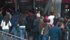 Wide Angle Shot of Transmilenio's Museo del Oro Station Stock Footage