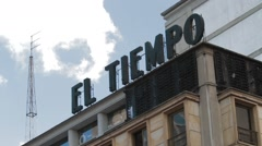 Low Angledaytime Shot of El Tiempo Tower Stock Footage