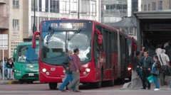 Wide Angle Shot of Transmilenio's Buses Stock Footage