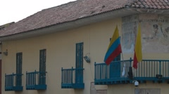 Colombian Flags on a Balcony Stock Footage