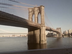 Stylized Vintage Tracking of Brooklyn Bridge in New York Stock Video Arkistovideo