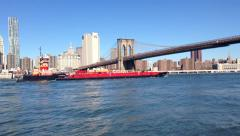 Water Traffic on East River New York City Stock Video - stock footage