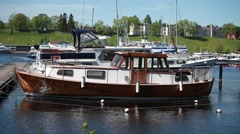 Vintage boat is moored Stock Footage