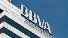 Close Up Shot of BBVA tower Stock Footage