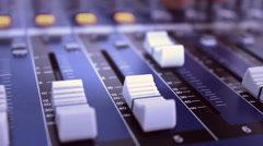 Audio sound board , recording the voice in the music film studio Stock Footage