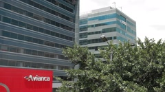 Close Up Shot of Avianca Tower and Colombian Chamber of Infrastructure Stock Footage