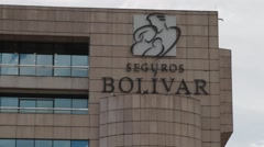 Close Up Shot of the Entrance to Seguros Bolivar Tower Stock Footage