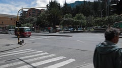 Wide Angle Shot of 7th Avenue in front of Ecopetrol headquarters Stock Footage