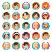 Doctors Cartoon Characters Icons Set3 - stock illustration