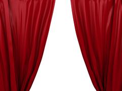 Opening red curtain. place for text Stock Illustration