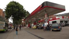 Wide Angle Shot of a Texaco Gas Station in Chapinero Stock Footage