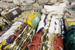 Bales of PVC sheeting to be recycled Stock Photos