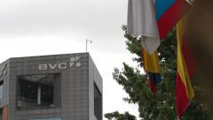 Zoom Out of the Colombian Stock Market (BVC) Headquarters Stock Footage