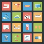 Home furniture and appliances flat icons set Stock Illustration