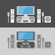 modern home cinema entertainment with two color kits - stock illustration
