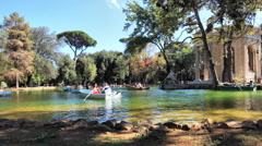 time lapse boat in a public park villa Borghese, Rome - stock footage