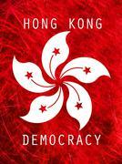 democracy hong kong poster - stock illustration