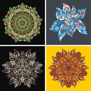 Collection of symmetric ethnic ornaments. Ornamental round floral pattern. Set - stock illustration