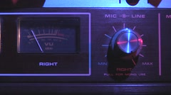 Tape recorder-reel to reel-24B VU meter close up Stock Footage