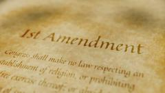 Stock Video Footage of Historic Document 1st Amendment