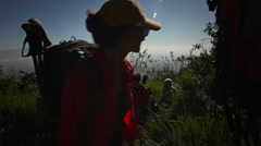 Women Climbing Meru, Kilimanjaro Backdrop Stock Footage