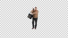 Male with briefcase going on the camera (on alpha background) Stock Footage