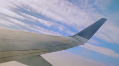 Wing aircraft, flying, sky, clouds Stock Footage