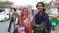 Two girls on the streets of Jaipur. People, India, Asia Stock Footage
