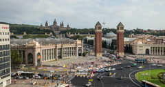 4K time lapse of the Venetian Towers and Palau Nacional in Barcelona Stock Footage