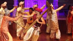 Show in Indian theatre. The dances.. India, Indian culture, dance, dancers - stock footage