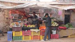 The counter with vegetables on Indian street Stock Footage