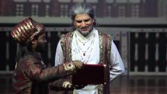 The actor in the Indian theatre plays Shah Jahan. India, Indian culture, stage - stock footage