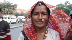 Indian woman on the road. People, India, Asia Stock Footage