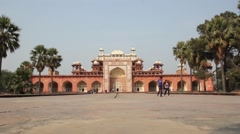 Tomb of Akbar the Great in Agra Stock Footage