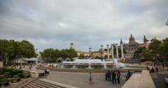 4K time lapse of the Palau Nacional and it's famous fountains in Barcelona Stock Footage