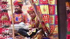 Indian street musicians. Puppet theatre.People, India, Asia Stock Footage