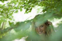 Young woman in nature, selective focus Stock Photos