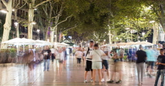 4K time lapse of the busy La Rambla shopping street in Barcelona Stock Footage