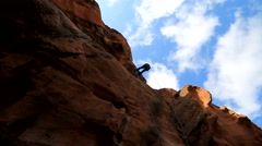 Rappelling Cliff Stock Footage