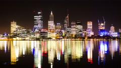Time Lapse of Perth City Skyline Lights at Night 2014 Stock Footage