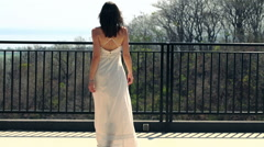 Woman admire beautiful view from terrace HD Stock Footage