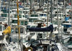 Boats in marina, full frame - stock photo
