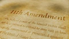 Historic Document 11th Amendment Stock Footage