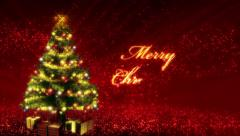 Magical Growing Christmas Tree and Merry Christmas text. Loop from 17:00 - 26:00 Stock Footage