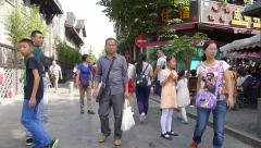Tourists visit the famous Kuan and Zhai Alley on the National Day of China Stock Footage