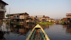 Timelapse View from Boat at Inle Lake Floating Village, Shan State, Myanmar Stock Footage