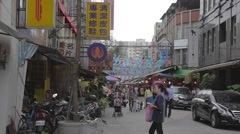 Main road leading into siping market Taipei Stock Footage