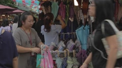 An outdoor umbrella stand at a market in Taipei Stock Footage