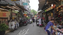 Taipei lane culture - stores and restaurants Stock Footage
