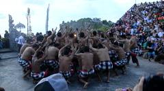 Kecak dance (Balinese ritual dance) performed in Uluwatu Temple - stock footage